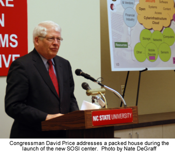 Photo of Congressman David Price addressing a packed house during the launch of the new SOSI center.  Photo by Nate DeGraff